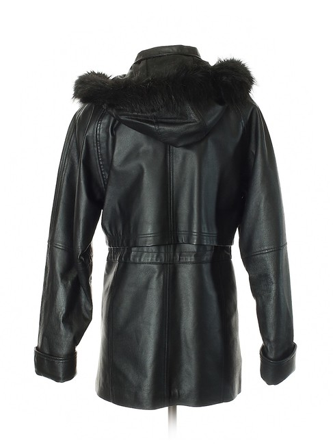 Croft & Barrow Parka Coat Insulated Hooded Faux Fur Leather Jacket Image 1
