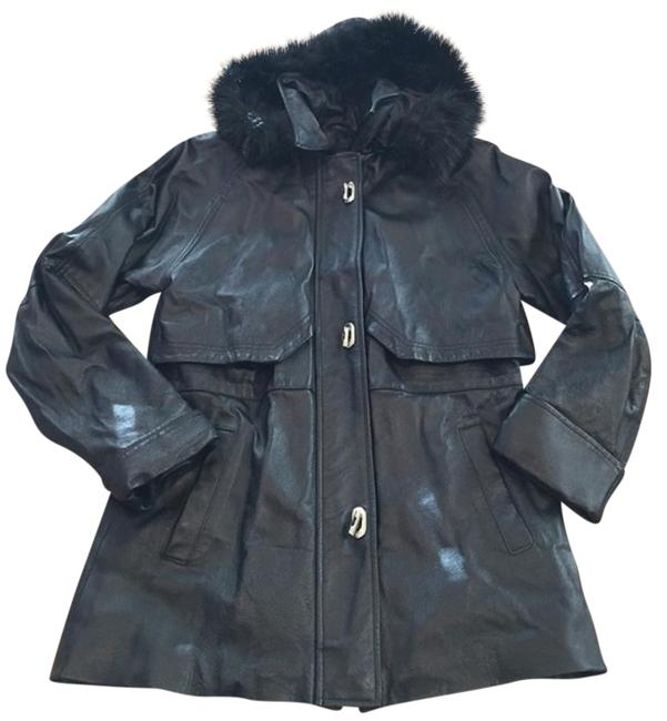 Croft & Barrow Parka Coat Insulated Hooded Faux Fur Leather Jacket Image 2