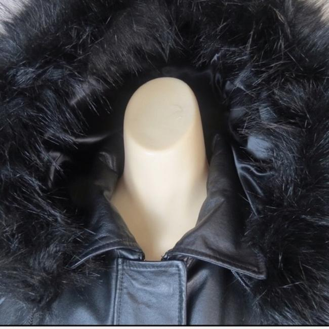 Croft & Barrow Parka Coat Insulated Hooded Faux Fur Leather Jacket Image 3