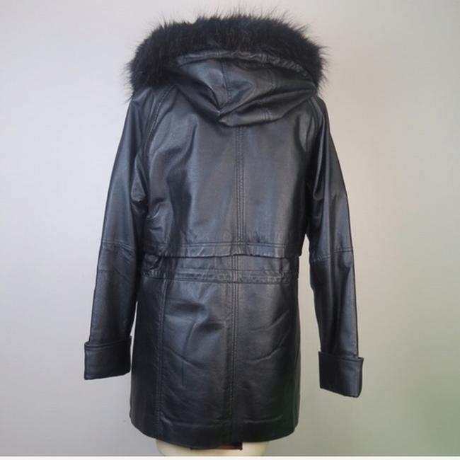 Croft & Barrow Parka Coat Insulated Hooded Faux Fur Leather Jacket Image 4