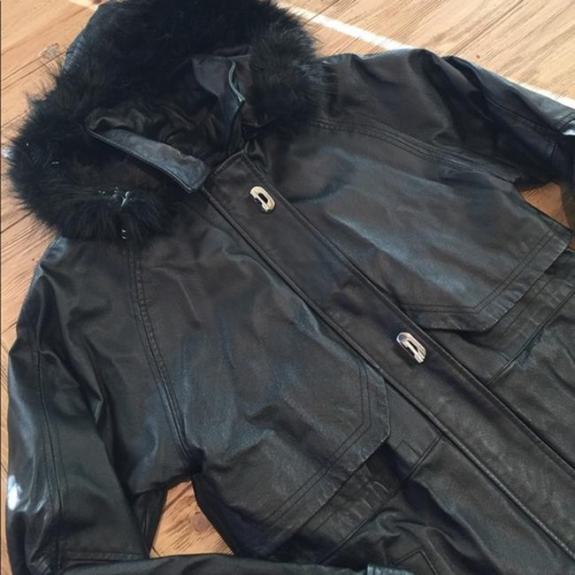 Croft & Barrow Parka Coat Insulated Hooded Faux Fur Leather Jacket Image 5