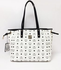 MCM Coated Canvas Leather Trim Tote in MCM White Shopper Project Visetos Reversible Tote Bag