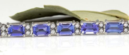 Other 12.45Ct Natural Tanzanite and Diamond 14K White Gold Bracelet Image 1