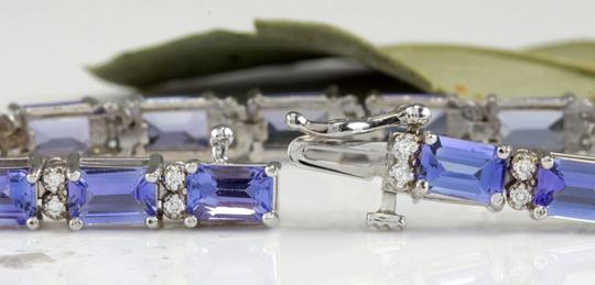 Other 12.45Ct Natural Tanzanite and Diamond 14K White Gold Bracelet Image 2