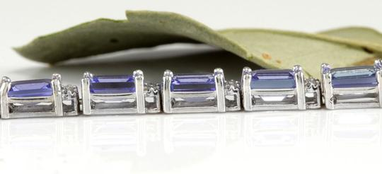 Other 12.45Ct Natural Tanzanite and Diamond 14K White Gold Bracelet Image 3