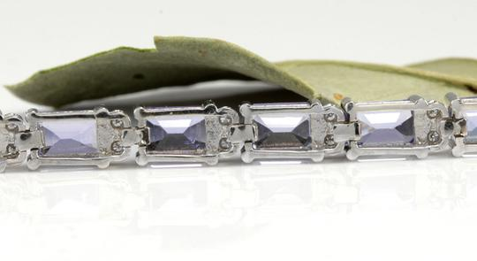 Other 12.45Ct Natural Tanzanite and Diamond 14K White Gold Bracelet Image 4