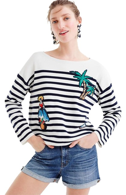 Preload https://img-static.tradesy.com/item/22318028/jcrew-white-navy-striped-cotton-with-cabana-patches-sweaterpullover-size-12-l-0-1-650-650.jpg