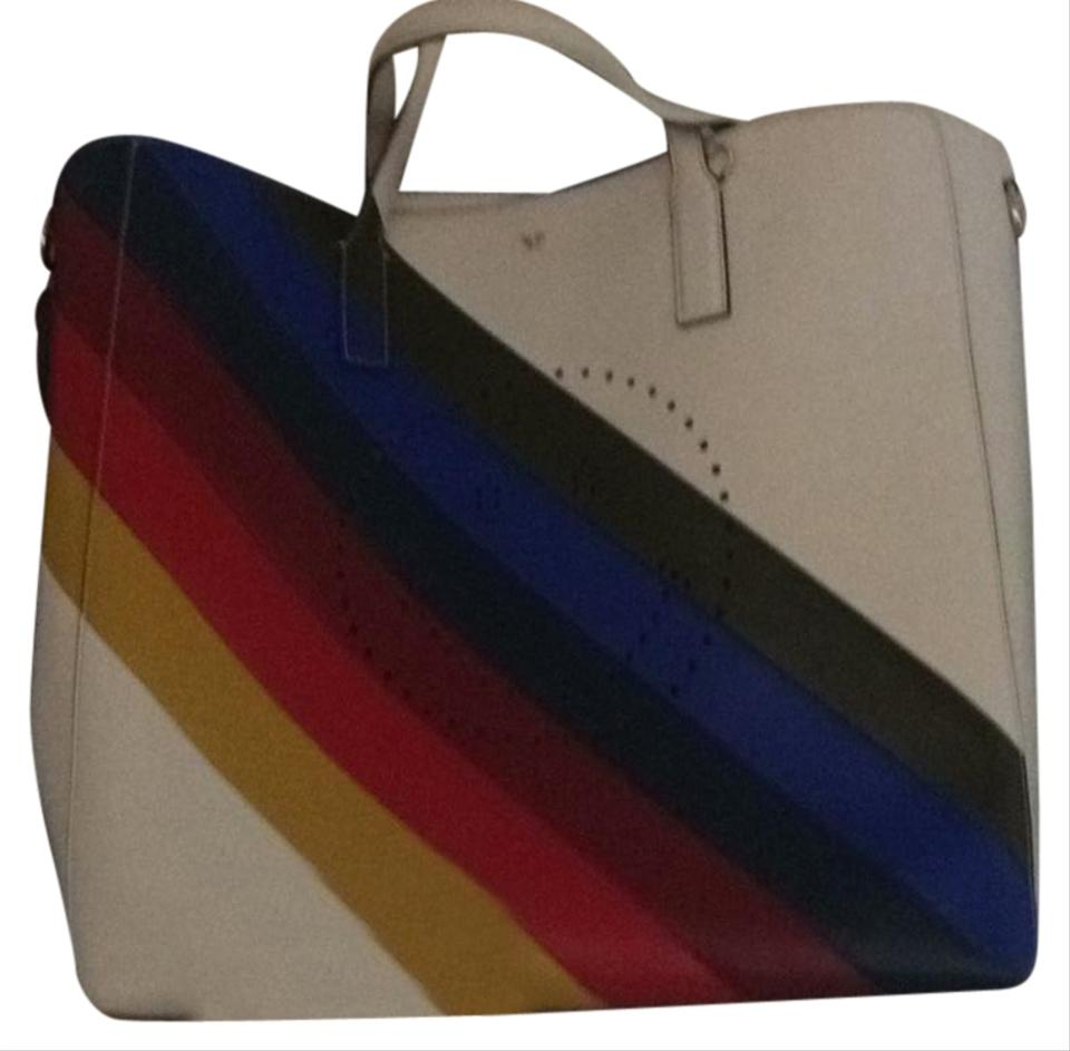 Anya Hindmarch Tote In White With Rainbow Colors