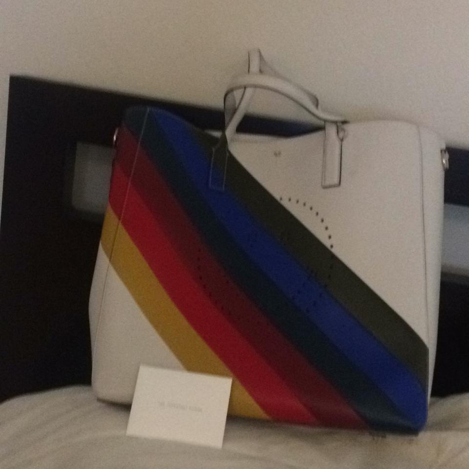 Anya Hindmarch This An Handbag That Came From Barney S New York White With Rainbow Colors Leather Tote
