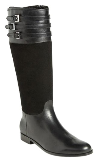 Aquatalia Suede Leather Equestrian Italy Black Boots Image 0