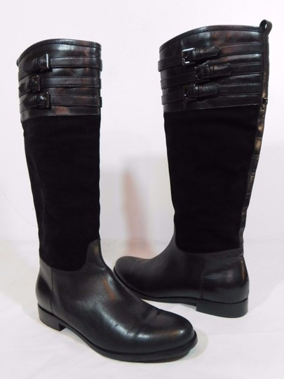 Aquatalia Suede Leather Equestrian Italy Black Boots Image 1