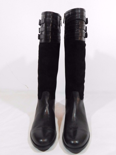 Aquatalia Suede Leather Equestrian Italy Black Boots Image 2