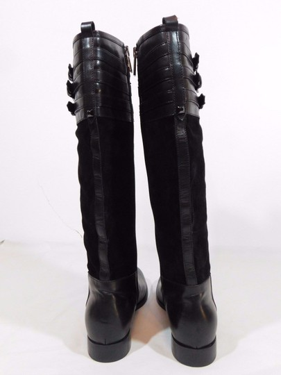 Aquatalia Suede Leather Equestrian Italy Black Boots Image 3