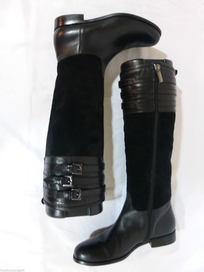 Aquatalia Suede Leather Equestrian Italy Black Boots Image 6