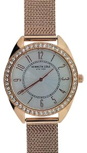 Kenneth Cole KC50051001 Women's Rose Gold Mesh Band With White Analog