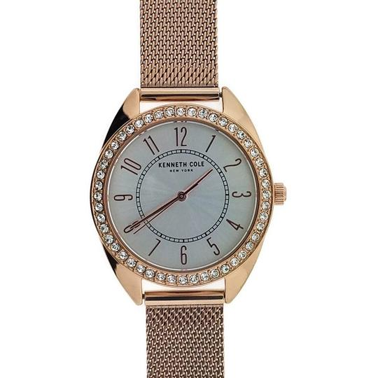 Kenneth Cole KC50051001 Women's Rose Gold Mesh Band With White Analog Image 1