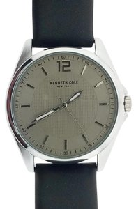 Kenneth Cole 10032135 Men's Black Leather Band With Grey Analog Dial Watch
