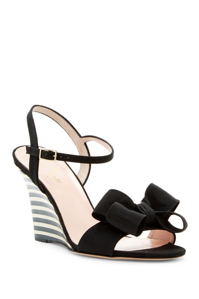bb94703f3433 Kate Spade Black   White Iballa Grosgrain Bow Sandal Wedges Size US ...