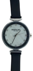 Kenneth Cole KC50050002 Women's Black Leather Band With Mother of Pearl Dial