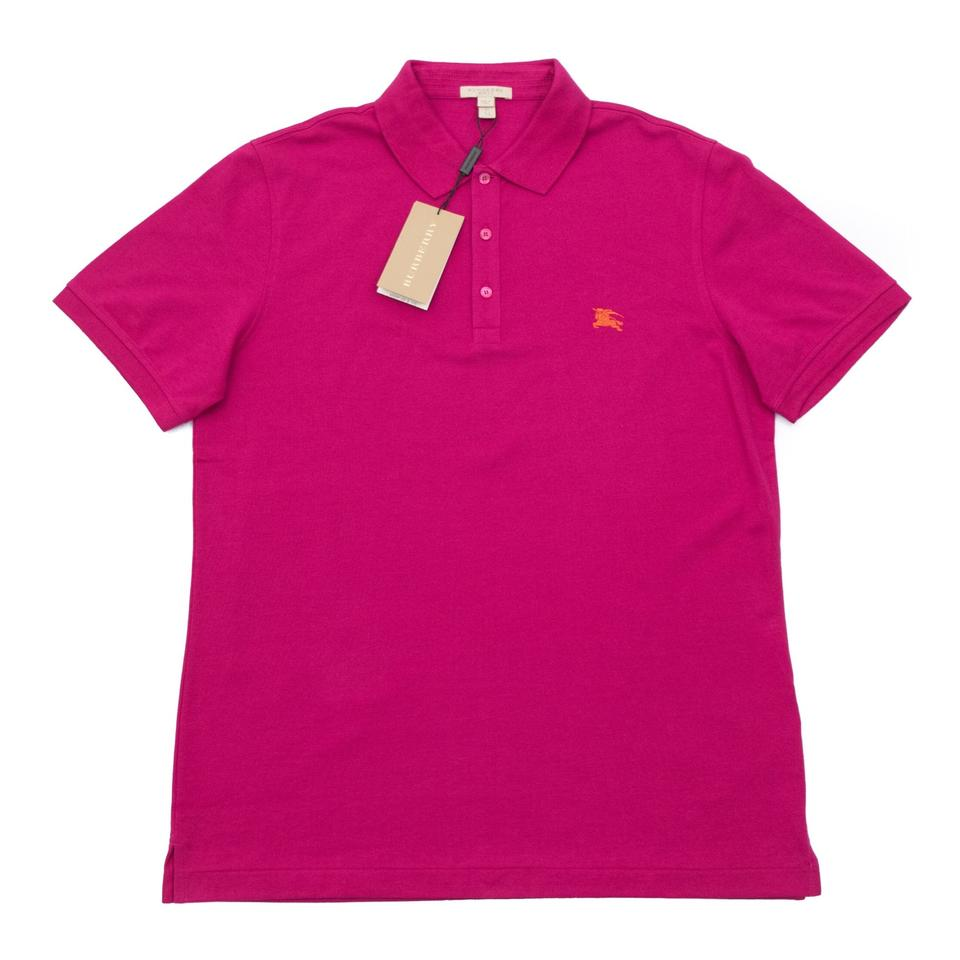 b7cbd814f17 Burberry Vibrant Fushia Cotton-jersey Polo Shirt Men s Blouse Size ...