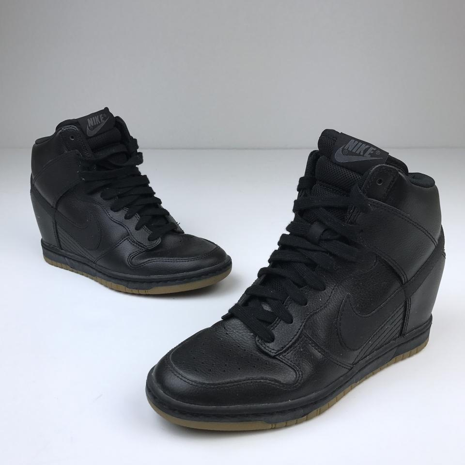best website 8ff5b 46a45 Nike Black Dunk Sky Hi Wedge Sneaker In Leather with Gum Color Soles  Sneakers Size US 7 Regular (M, B) - Tradesy