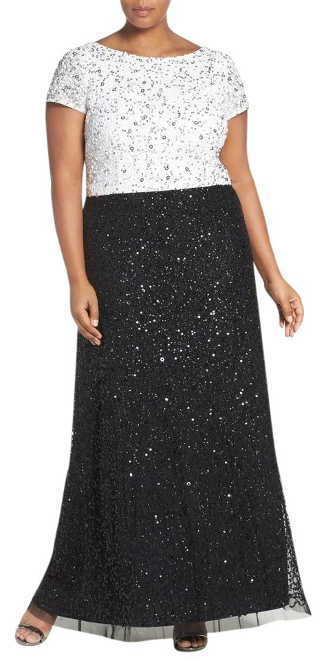 Adrianna Papell Ivory Black Sequin Beaded Colorblock A-line Gown ...
