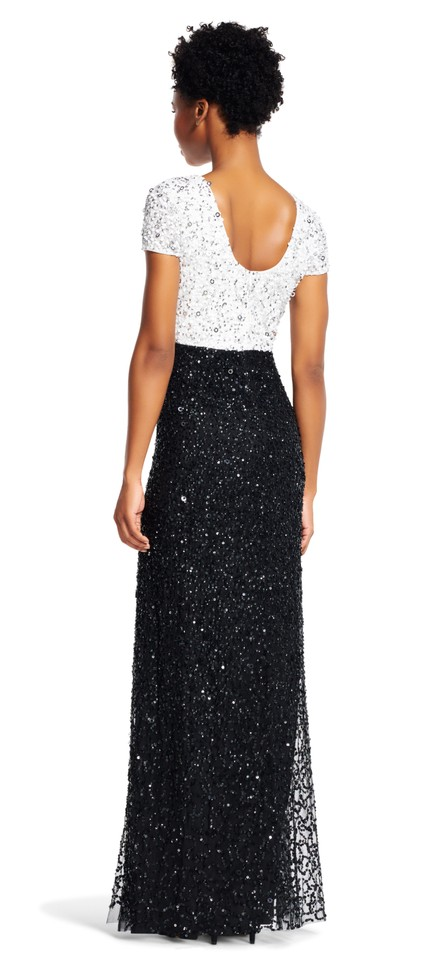 3743bca273d Adrianna Papell Ivory Black Sequin Beaded Colorblock A-line Gown Formal  Dress. Size  22 ...