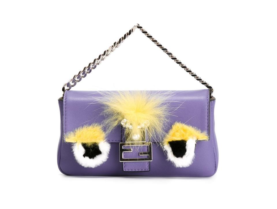 bfb85f76f765 Fendi Micro Baguette Monster Purple Leather Cross Body Bag - Tradesy