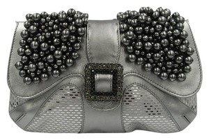 St. John Pearls Rhinestones Embellished Buckle Chain silver Clutch
