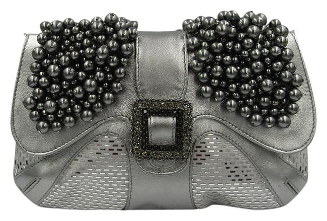 Item - Purse Pearls Palettes Swarovski Crystals Silver Leather Clutch