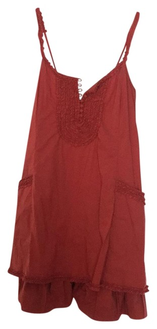 Item - Burned Orange Red Brick Relaxed Fit Short Casual Dress Size 00 (XXS)