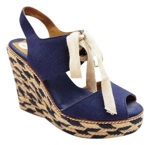 Tory Burch Lace Up Navy Wedges
