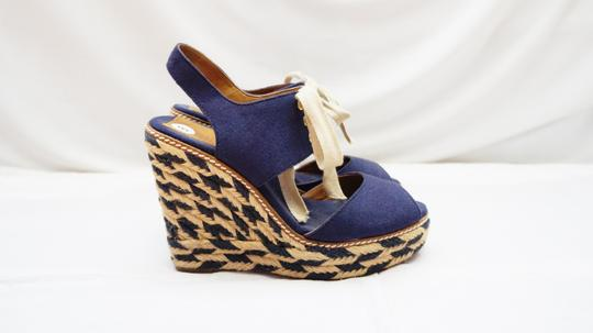Tory Burch Lace Up Platform Espadrille Navy Wedges