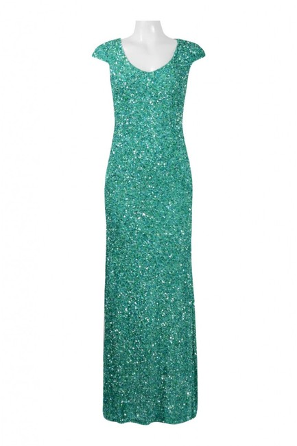 Theia Sequin Cap Sleeve Gown Evening Dress Image 1