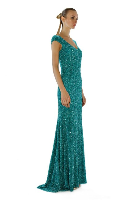 Theia Sequin Cap Sleeve Gown Evening Dress Image 3