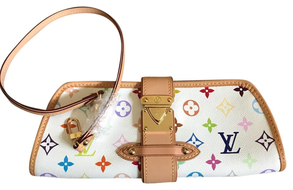 b0acae3e285d Louis Vuitton Shirley Murakami White Multi Multicolore Canvas Clutch ...