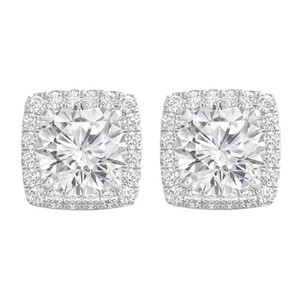 other Cubic Zirconia CZ Round 2.50 Carat Square Halo Stud Push Back Earrings