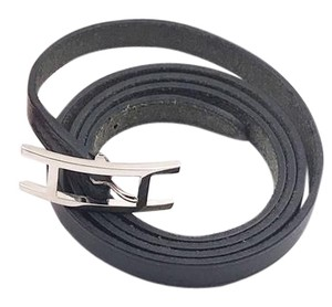 Herms Hermes Unisex Palladium H Belt Black Leather Wrap Bracelet
