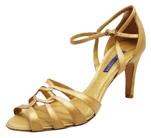 Ralph Lauren New Label Phyliss Vintage Calf Strappy Heels 9 Gold Sandals