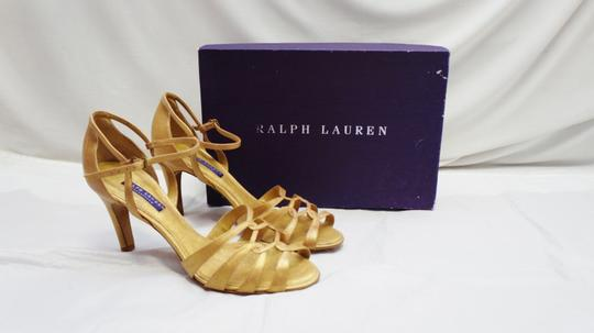 Ralph Lauren New Purple Label Phyliss Vintage Calf Strappy Heels 9 Gold Sandals
