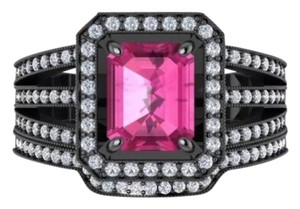 Other New 2.95ct Pink and 14k Black Gold Filled Wedding Ring Set