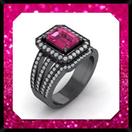 Other New 2.95ct Pink and 14k Black Gold Filled Wedding Ring Set Image 1