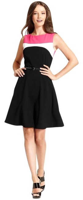 Item - Black and Pink Sleeveless Colorblock Belted Mid-length Work/Office Dress Size 10 (M)