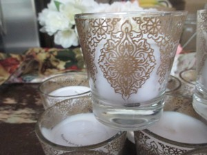 Gold & Clear 14 X-large Votive S*gold Etching*clear Glass With Unity Candle