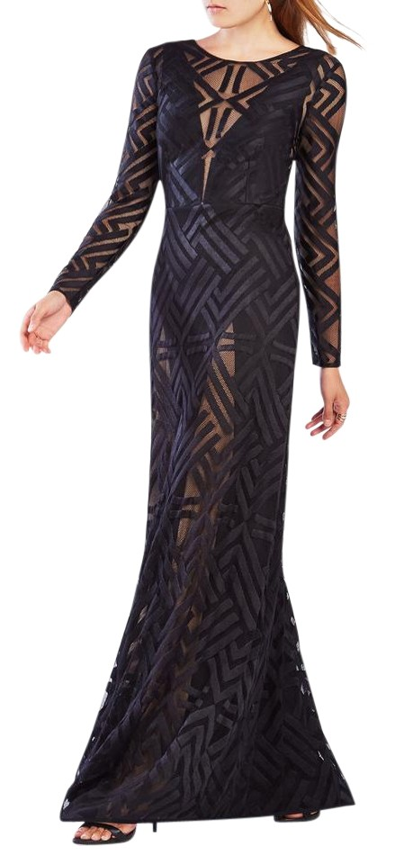 Bcbgmaxazria Black Viera Lace Gown Long Cocktail Dress Size 6 S