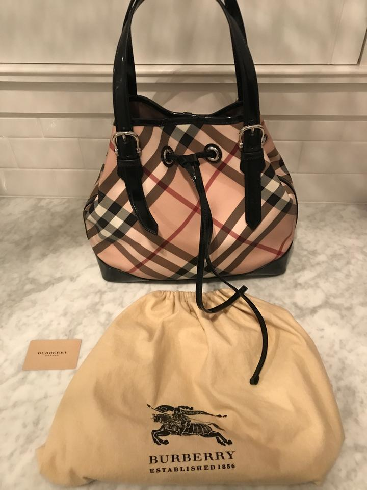 0bb4047c3bd6 Burberry Patent Leather Vintage Nova Bucket Tote in Black and check Image  8. 123456789