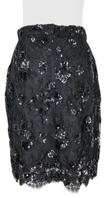 Item - Black Couture Beaded Sequined French Lace & Silk Skirt Size 4 (S, 27)