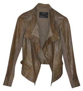 AllSaints Leather Moto Drape Versatile Brown Jacket