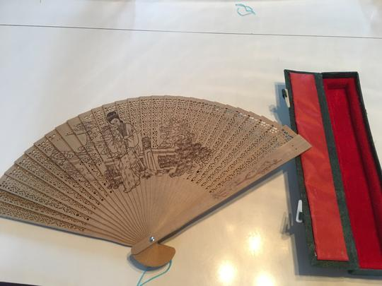 Multicolor Bamboo Fan In Velvet Box with Informational Books Other Image 6