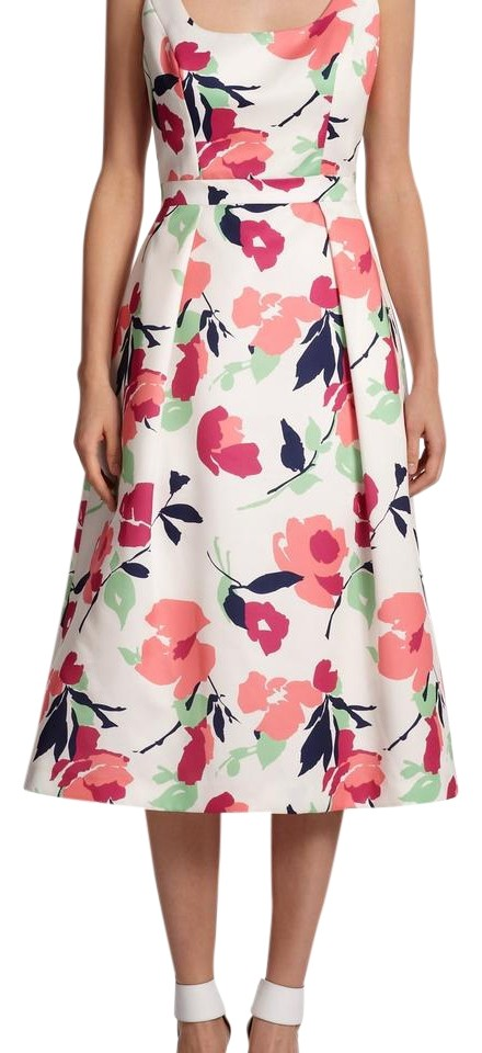 44de793d1c1 Shoshanna White Janelle Floral Fit and Flare Midi Mid-length ...